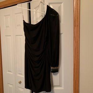 Long sleeve one shoulder black dress